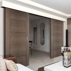 Thruslide Surface Vancouver Flush Chocolate Grey Sliding Double Door and Track Kit- Prefinished - Lifestyle Image. - March 16 2019 at Internal Folding Doors, Internal Double Doors, Double Sliding Doors, Sliding Wall, Double Barn Doors, Sliding Glass Door, Room Divider Doors, Room Doors, House Slide