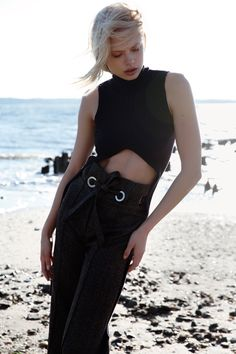 Sea NY Navy Knit Rib Top and A Moi Tweed Belted Trouser