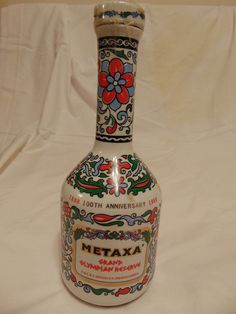 Limited edition anniversary Metaxa bottle Ceramic white with multi-color ornate design Original label in tact Bottle in EXCELLENT condition, no chips or sign of shelf wear Ceramic lid Vintage Items, The 100, Anniversary, Ceramics, Bottle, Antiques, Color, Ebay, Design