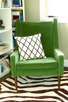 Classic Green Easy Chair Via Caitlin Creer Interiors