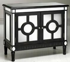 """Reflections Empire Cabinet, 36""""Hx42""""W, BLACK by Home Decorators Collection. $309.99. 36""""H x 42""""W x 19""""D.. The Reflections Empire Cabinet has a mirrored finish and perfect detailing that will add a modern, elegant look to any room. Perfect for any room in your home, the cabinet will add extra storage and good looks while complementing any decor. Order yours now. Mirrored/black finish. Constructed of MDF and poplar. Actual size is 36""""Hx42""""W"""