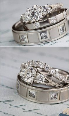 His and hers wedding bands and diamond ring.  Bowen Jewelry Company | Michelline Hall | as seen on Hill City Bride