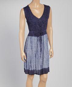 Loving this Navy Crepe Tie-Dye V-Neck Dress - Women & Plus on #zulily! #zulilyfinds