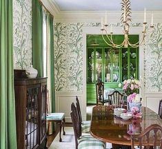 Courtnay Tartt Elias, Creative Director and Principal of Creative Tonic Decor, Green Dining Room, Room Design, Interior, Home Decor, Room Inspiration, House Interior, Dining Room Wallpaper, Dining Room Inspiration