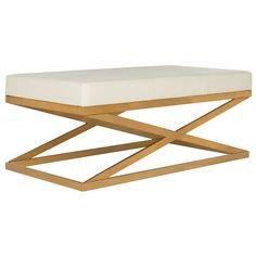 """Features:  Bench Type: -Bedroom bench.  Seat Material: -Faux Leather.  Finish: -White and Gold.  Style (Old): -Contemporary/Glam.  Pattern: -Solid. Dimensions:  Overall Height - Top to Bottom: -18""""."""
