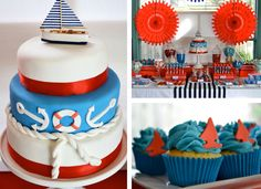 Cake, Dessert Table and Cupcakes for Nautical Party