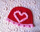 My Little Valentine - Pink Roses Heart Newborn Crochet Baby Girl Hat