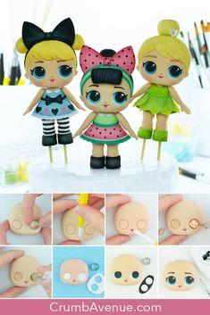 Cake Topper Tutorial, Fondant Tutorial, Doll Tutorial, Lol Dolls, Cute Dolls, Lol Doll Cake, Easy Art For Kids, Fondant Animals, Fondant Toppers