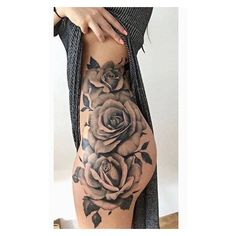 15 Sexiest Thigh Tattoos For Women POP TATTOO ❤ liked on Polyvore featuring accessories and body art