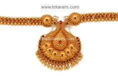22K Gold '2 in 1' Peacock Long Necklace (Temple Jewellery): Totaram Jewelers: Buy Indian Gold jewelry & 18K Diamond jewelry