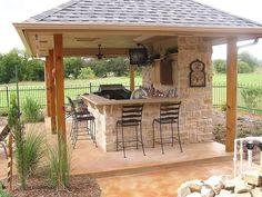 Amazing Outdoor Kitchen Patio Ideas Cozy Outdoor Kitchen Decor Ideas For You outdoor Backyard Bar, Backyard Kitchen, Backyard Patio Designs, Summer Kitchen, Modern Backyard, Backyard Games, Backyard Landscaping, Outdoor Kitchen Plans, Outdoor Kitchen Design