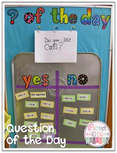 Need a fun classroom management activity to get kids focused and ready for the day? Teachers can set-up a DIY Question of the Day board with a drip pan and a few simple materials. Kids will love reading the different questions posted each school day! New Classroom, Classroom Setting, Classroom Setup, Kindergarten Classroom, Classroom Activities, Preschool Attendance Chart, Reception Classroom Ideas, Primary Classroom Displays, Classroom Attendance