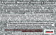 """Argentina vivió su última dictadura entre 1976 to 1983. En este tiempo, entre 9,000 y 30,000    personas fueron desaparecidas, muchas de ellas torturadas y asesinadas. Cuando la democracia fue reinstaurada, las llamadas """"leyes de impunidad"""" concedieron indultos y amnistía  a los autores de crímenes de lesa humanidad. Después de trabajar incansablemente durante 20 años, los defensores de derechos humanos lograron que los responsables sean llevados a juicio en Argentina."""