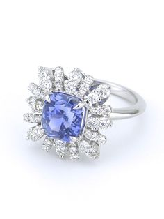 Australian Sapphire Diamond Platinum Cluster Ring | From a unique collection of vintage cluster rings at https://www.1stdibs.com/jewelry/rings/cluster-rings/