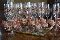 Elegant Decorative Initial Monogram Gold and Burgundy Celebration Moms Night Out Wedding Bachlorette Party Favor Champain Wine Glass