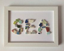 Seaside picture, beach pottery picture, sea mosaic