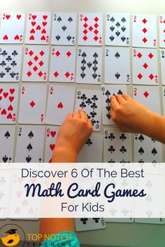 Are you after some more fun math games? Math card games are a fantastic way for kids to practice math skills, but in a non-threatening and motivational way. - Discover 6 Of The Best Math Card Games For Kids - Top Notch Teaching Easy Math Games, Math Card Games, Kindergarten Math Games, Card Games For Kids, Learning Games For Kids, Educational Games For Kids, Math For Kids, Teaching Math, Children Games