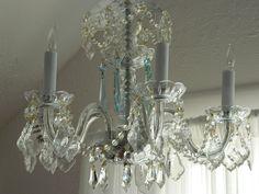 Vintage Crystal Chandelier Featuring  Pale Aqua Crystals TREASURY ITEM. $375.00, via Etsy.