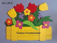 Teddys Window Pictures Flowers in Box yellow` Tonkarton - - Summer Crafts, Diy And Crafts, Diy For Kids, Crafts For Kids, Foam Sheet Crafts, Baby Embroidery, Foam Sheets, Class Decoration, Tall Leather Boots