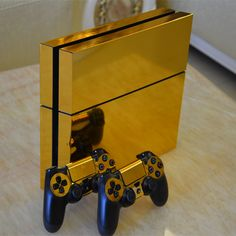 SP Gold Glossy Decal Skin Sticker for Playstation 4 Console+Controllers Can be found at Eb Games, Microplay Ps4 Console, Playstation 4 Console, Playstation Games, Ps4 Games, Games Consoles, Control Ps4, Deco Gamer, Video Game Rooms, Video Games