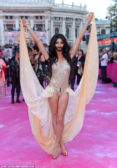 Conchita Wurst took to the pink carpet at the glamorous Lifeball charity event...