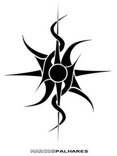 Astonishing Tribal Sun Tattoo Stencil
