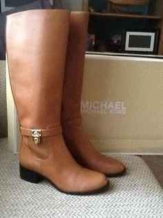 Michael Kors Hamilton Riding Brown Leather Boots