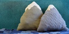 UPCYCLED SWEATER MOUNTAIN CUSHION & directions for making sweaters  felted - for other projects