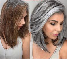 Long Gray Hair, Silver Grey Hair, Silver Hair Highlights, Grey Hair Transformation, Grey Hair Inspiration, Layered Curly Hair, Transition To Gray Hair, Hair Dos, Balayage Hair