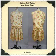 ca. 1920's Day Dress in Flower Print Silk Taffeta