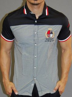 Stylish Casual plaid slim fit button up shirt. well fitted cotton shirt. unique design with crest and badge on the left side of the chest and left sleeve. PLEASE USE THE SIZE CHART TO PICK THE CORRECT