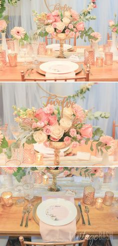 Want a ROMANTIC RUSTIC CHIC-THEMED or ENCHANTED FOREST-THEMED Wedding? Here's a lovely wedding decor inspiration for you. COLOR COMBO: GOLD, BLUSH, PEACH, IVORY, WHITE, GREENERY. USING harvest table, lace runner, gold vases, wooden table number, milk vases, gold plate charger, tulle greenery backdrop, and mismatched blush votive holders. Stunning! Click the PIN for more photos.