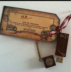 Steampunk wedding ideas    LOVE these Invitations & tie little gear charms to them instead of the hard drive. <3 yes.