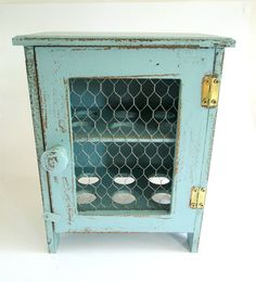 Rustic Wooden Egg Storage Box / Cabinet in Robins Egg Blue / Egg Display Rack / Country Kitchen on Etsy, $62.00