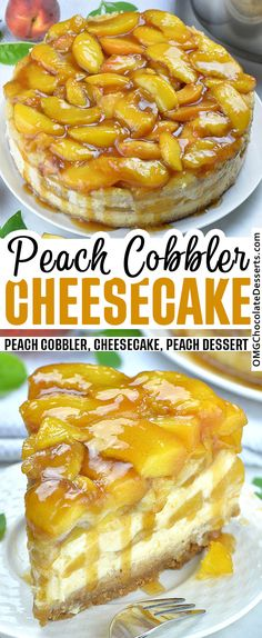 This Peach Cobbler Cheesecake merges the classic flavors of a creamy New York style cheesecake with the decadence of a Southern peach cobbler filled with caramelized peaches. Peach Cobbler Cheesecake Recipe, Homemade Peach Cobbler, Southern Peach Cobbler, Peach Cobbler Dump Cake, Cheesecake Recipes, Dessert Recipes, Frosting Recipes, Peach Pound Cakes, Peach Cake