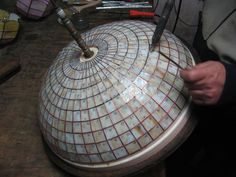 Louis Comfort Tiffany Studios New York Process of making a geometrical lamp, handcrafted by Wieniawa-Piasecki Workshop www.e-witraze.pl