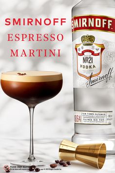 Coffee meets martini. Why not shake one up tonight?                                         Party Drinks, Fun Drinks, Alcoholic Drinks, Beverages, Martini Recipes, Alcohol Drink Recipes, Cocktail Recipes, Vodka Cocktails, Cocktail Drinks