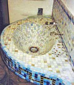 Beautiful Bathroom Sinks Decorated with Mosaic Tiles Tile design
