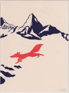 Loup rouge Evelyne Mary Linogravure