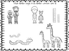 en uzun? Preschool Writing, Preschool Kindergarten, Kindergarten Worksheets, Preschool Activities, Classroom Language, Coloring Pages, Teaching, Education, Educational Activities