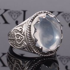 Silver Ring Clear Moonstone Sterling 925 Mens Jewelry unique handcrafted #KaraJewels #Handscrafted