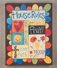 Take a look at this 'House Rules' Canvas by Glory Haus on #zulily today!