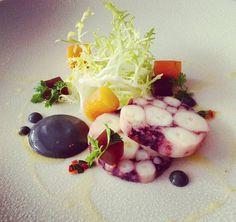 Octopus terrine, jelly, nasturtium root, charcoal #finedining #theartofplating #Sheffield #foodporn #octopus #seafood #starter #chefsofinstagram #cheftalk #expertfoods #salad #terrine #