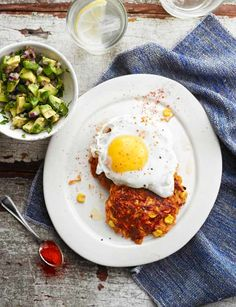 Sweet potato rostis with fried eggs and avocado salsa | This recipe is ready in just 25 minutes so is a great midweek meal! delicious.
