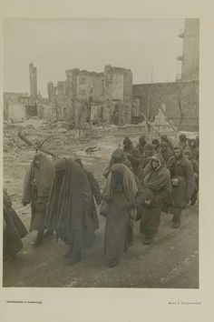 Surrendered German soldiers on the streets of Stalingrad. 1943