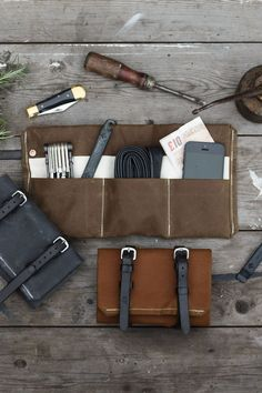 British made waxed canvas tool roll.