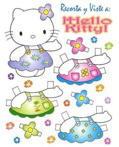 Hello kitty cut out paper doll :) Paper Doll Craft, Paper Toys, Paper Crafts, Anniversaire Hello Kitty, Hello Kitty Birthday, Paper Dolls Printable, Paper Animals, Cat Party, Vintage Paper Dolls
