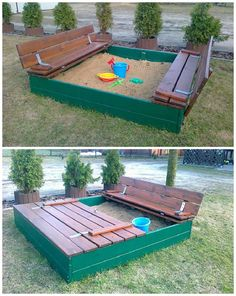 We already presented sandpits projects made out of pallets (following the link here you'll find the pdf tutorial). Here is another design submitted by a facebook friend based in Polland…