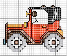 Schema punto croce Auto-epoca Cross Stitch Cards, Cross Stitch Alphabet, Cross Stitch Baby, Cross Stitching, Cross Stitch Designs, Cross Stitch Patterns, Loom Patterns, Embroidery Applique, Cross Stitch Embroidery