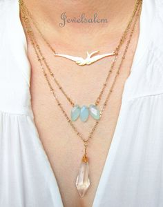 Swallow Necklace Gold Bird Necklace Gold Filled Bird by Jewelsalem, $23.00
